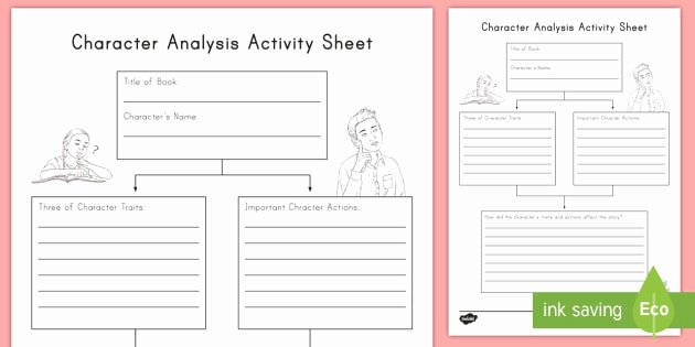 Character and Setting Worksheets Character Analysis Worksheet Worksheet R L 3 3 Rl3 3