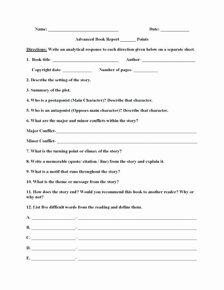 Character Setting and Plot Worksheets Character Worksheets