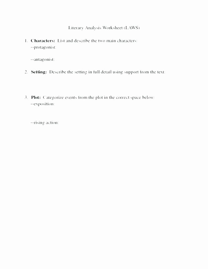 Character Setting Worksheets 6th Grade Plot Worksheets