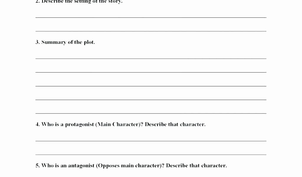 Character Setting Worksheets Character Worksheets for Middle School