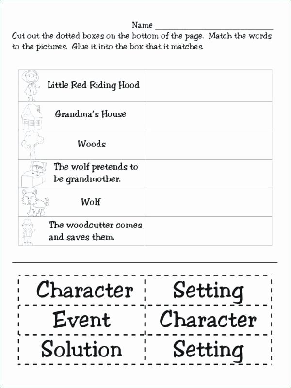 Character Setting Worksheets First Grade Little Red Riding Hood A Story Elements Elements