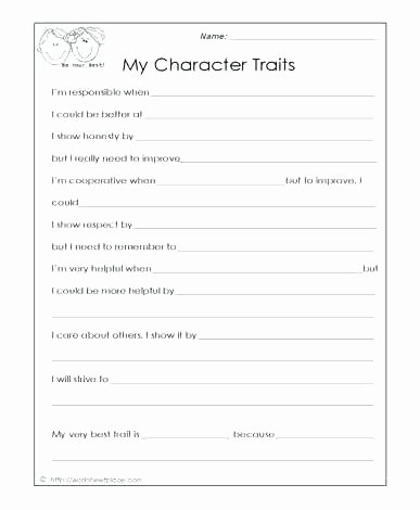 Character Traits Worksheet 2nd Grade Character Building Worksheets Middle School