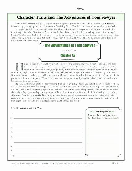 Character Traits Worksheet 2nd Grade Huckleberry Finn Activities Worksheets