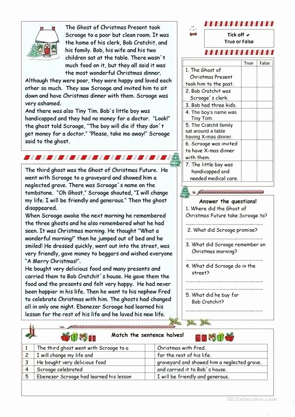 Christmas Comprehension Worksheets A Christmas Carol Worksheets