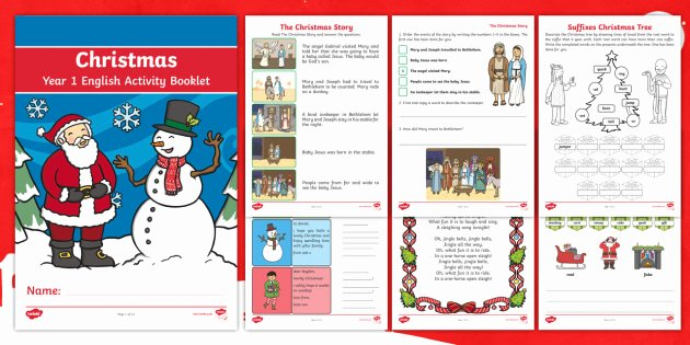 Christmas Comprehension Worksheets Year 1 Christmas English Activity Booklet Prehension