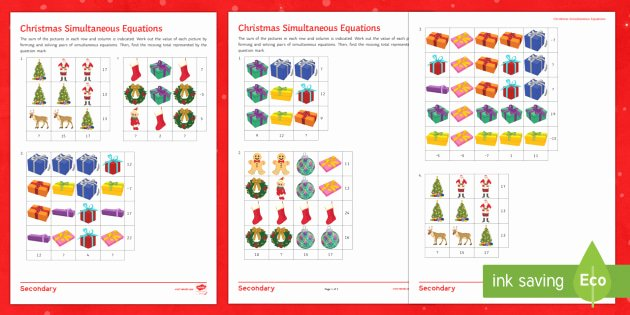 Christmas Coordinates Worksheets Awesome Christmas Algebra Differentiated Worksheet Worksheets