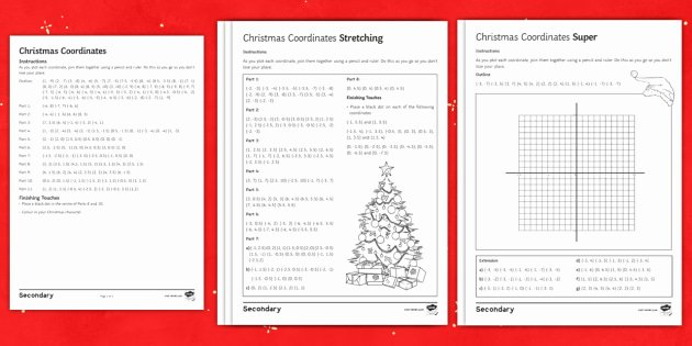 Christmas Coordinates Worksheets New Christmas Coordinates Using 4 Quadrants Differentiated