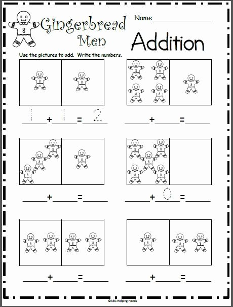 Christmas Counting Worksheets Kindergarten Beautiful Gingerbread Man Addition Math Worksheet