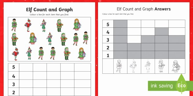 Christmas Graphing Worksheets Elf Count and Graph Worksheet Worksheet Maths Ks2 Ks1