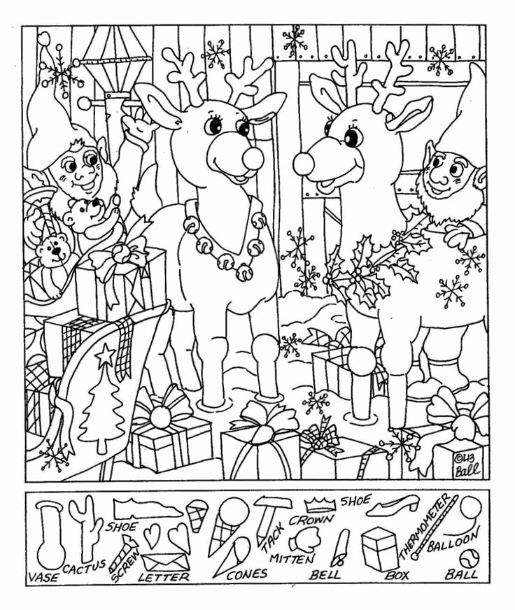 Christmas Hidden Picture Puzzles Printable Christmas Hidden Coloring Pages