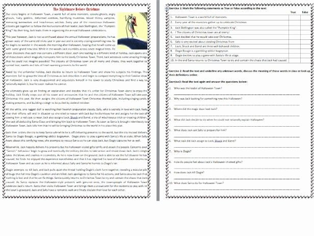 Christmas Reading Comprehension Worksheets the Nightmare before Christmas the Story Reading