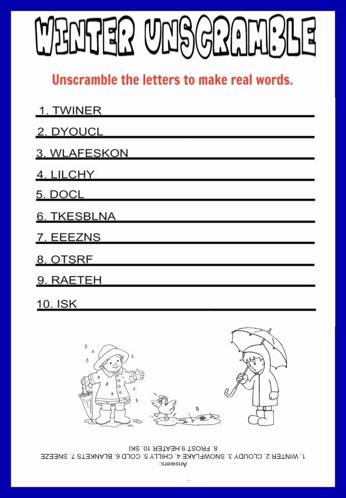 Christmas Unscramble Worksheets Inspirational Unscramble Games