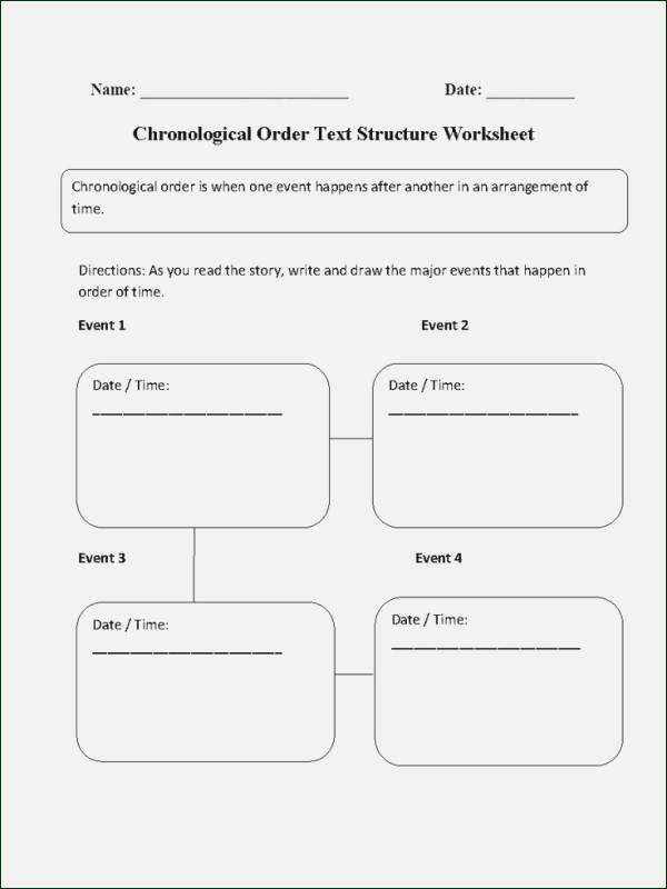 Chronological order Worksheets Text Structure Worksheets