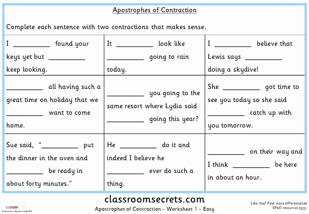 Ck Worksheets for 1st Grade Contraction Practice Worksheets