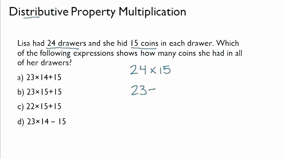 Ck Worksheets for 2nd Grade Beautiful Distributive Property Word Problems Worksheets Expression