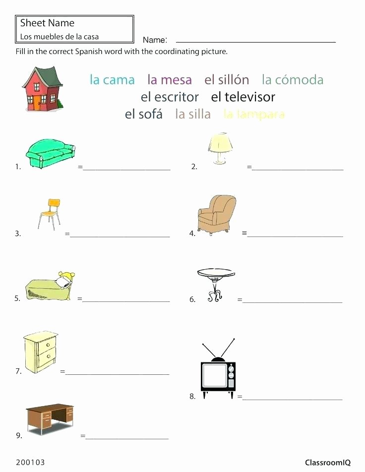 Classroom Objects Worksheets Pdf E Worksheets Telling Alphabet Spanish Pdf Free