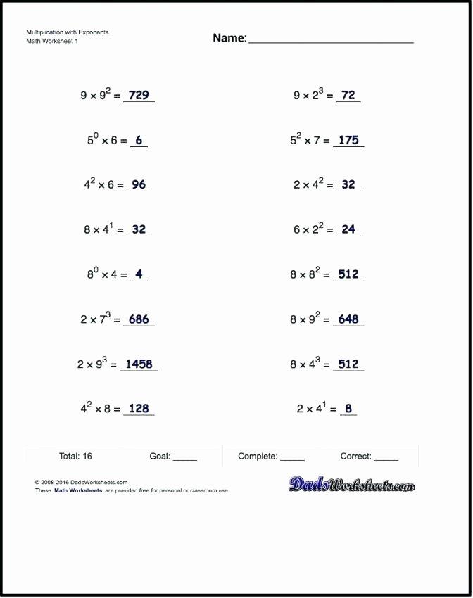 Classroom Rules Worksheet Algebra 1 Unit 7 Exponent Rules Worksheet 2 Simplify Each
