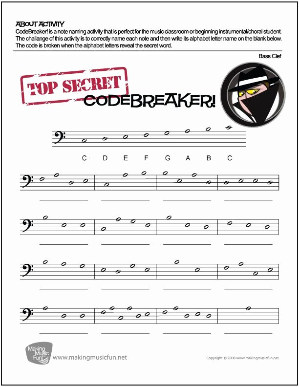 Code Breaker Worksheet Codebreaker Free Bass Clef Note Name Worksheet Digital