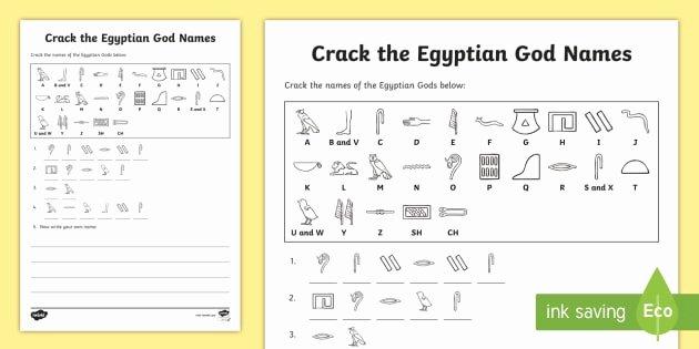 Code Breaker Worksheet Crack the Hieroglyphs Egyptian God Names Worksheet