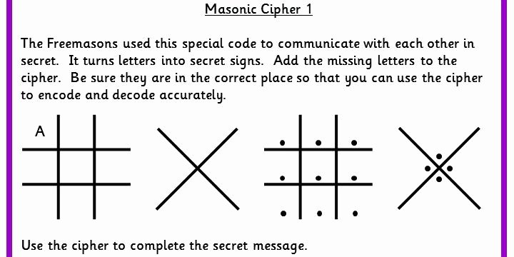 Code Breaker Worksheet Five Differentiated Worksheets to Use the Masonic Cipher to