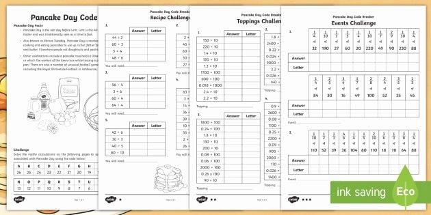 Code Breaker Worksheet Ks2 Pancake Day Codebreaker Differentiated Worksheet