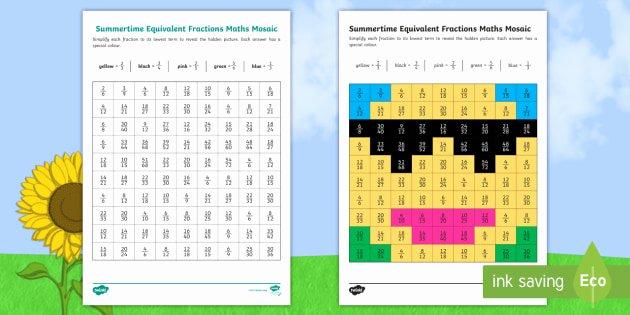 Code Breaker Worksheet Ks2 Summer themed Equivalent Fractions Mosaic Worksheet