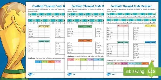 Code Breaking Worksheets Ks1 Football themed Code Breaker Differentiated Worksheets