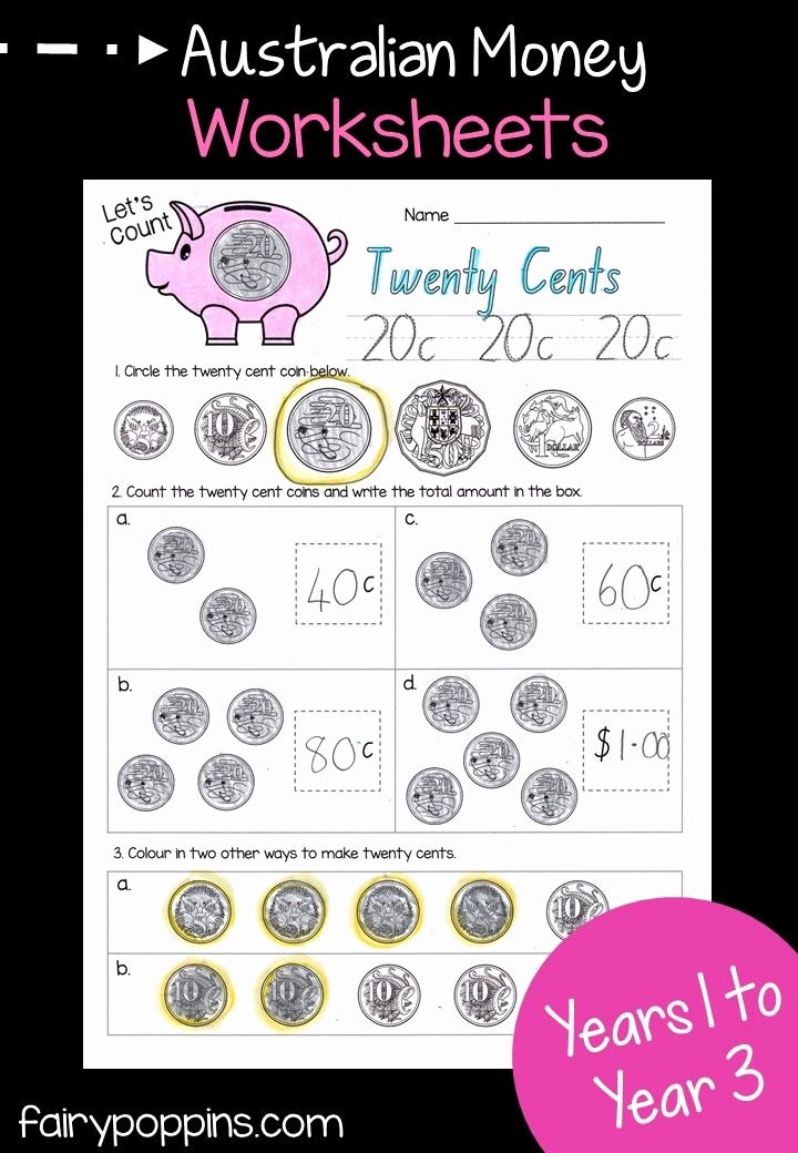 Coin Worksheets for 2nd Grade Australian Money Activities Math