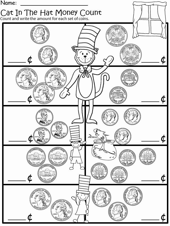 Coin Worksheets for 2nd Grade Free the Cat In the Hat Money Recognition and Counting for
