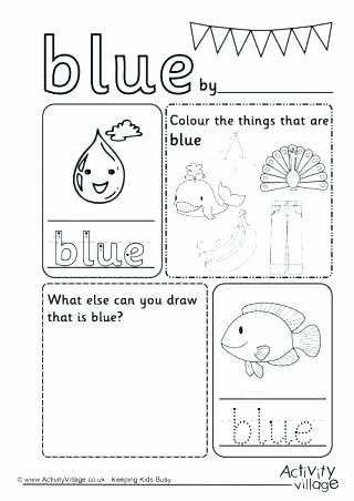 Color Blue Worksheets for Preschool Color Blue Coloring Pages – Golfpachuca