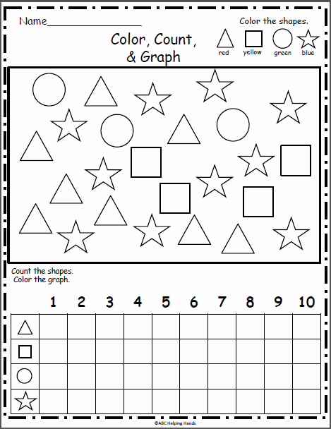 Color Blue Worksheets for Preschool Free Shapes Graph Color Count Graph