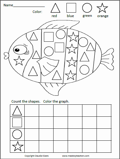 Color Blue Worksheets for Preschool Shapes Graphing Activity Fish Kids Work