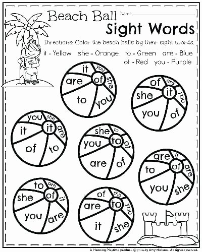 Color by Word Worksheets Beautiful 1st Grade Site Words Worksheets