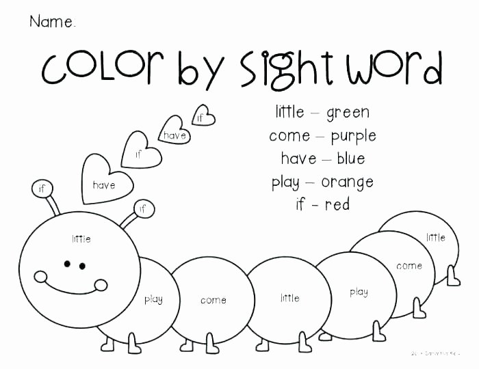 Color by Word Worksheets Luxury Sight Word Worksheets