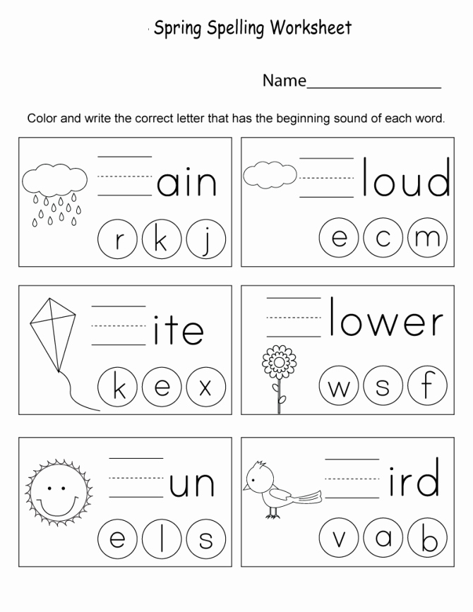 spelling color words worksheet spring worksheets best coloring pages for 670x867