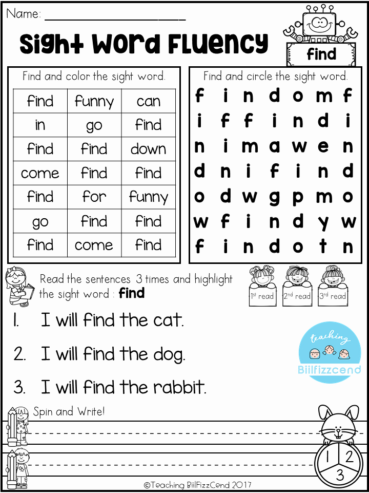 Color Sight Word Worksheets Free Sight Word Fluency Activities