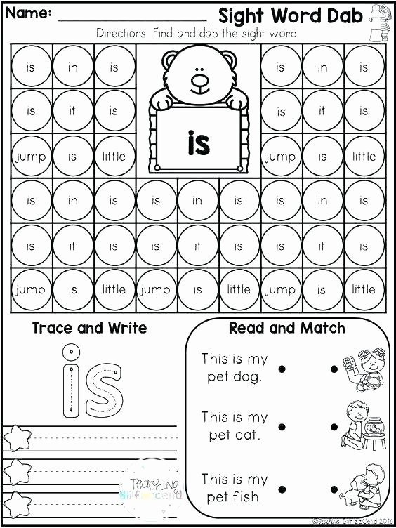Color Sight Word Worksheets Free Sight Word Worksheets for Kindergarten Coloring
