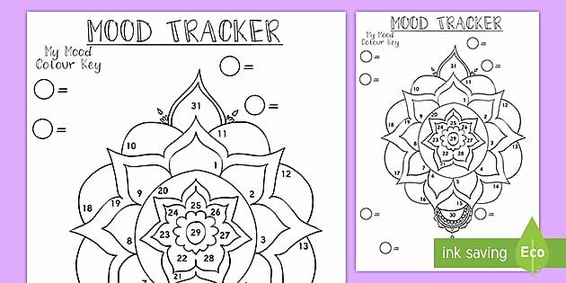 Color Wheel Mandala Lesson Plan Space themed Mood Tracker Bullet Journal Page