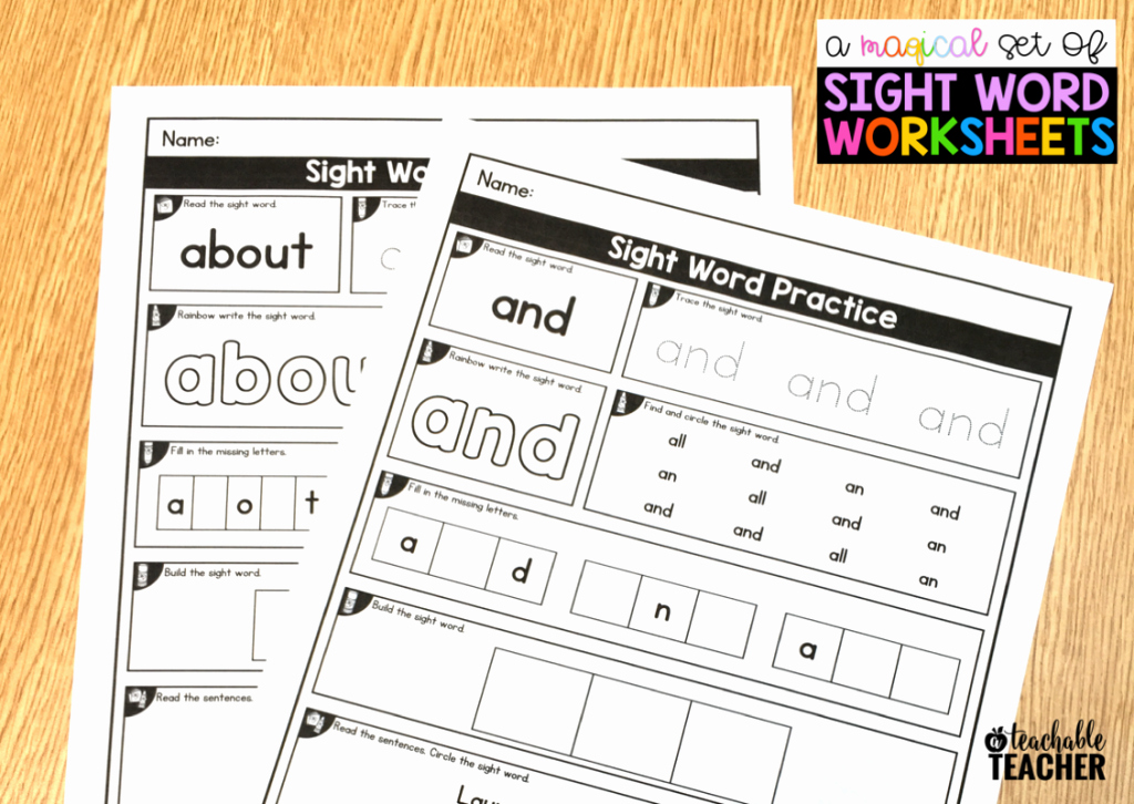Color Word Worksheets for Kindergarten Editable Sight Word Worksheets A Teachable Teacher