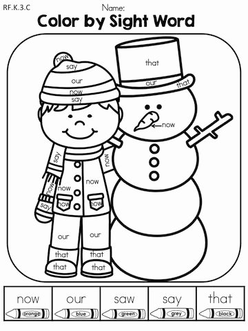 Color Word Worksheets for Kindergarten Winter Literacy Worksheets Kindergarten