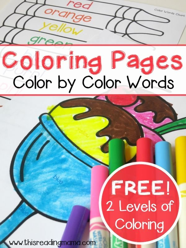 Color Words Coloring Pages Simple Color Words Coloring Pages