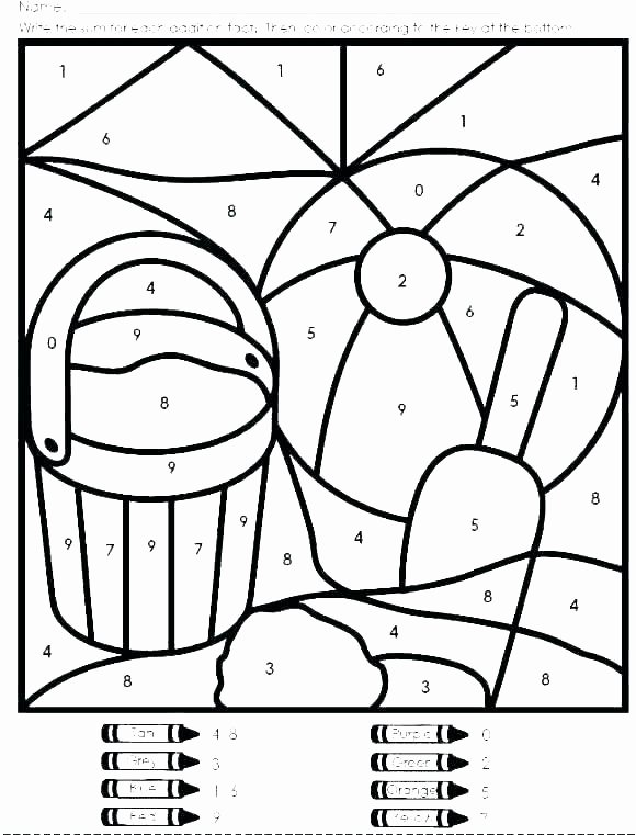 Coloring Addition Worksheet Second Grade Color by Number