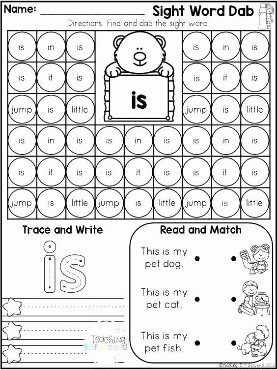 Coloring Sight Words Worksheets Free Sight Word Worksheets for Kindergarten Coloring