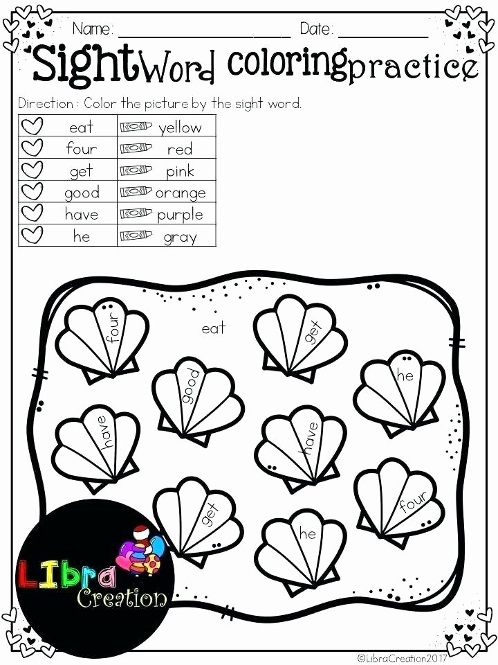 Coloring Sight Words Worksheets Sight Word Coloring Color Words Pages Hidden Worksheets