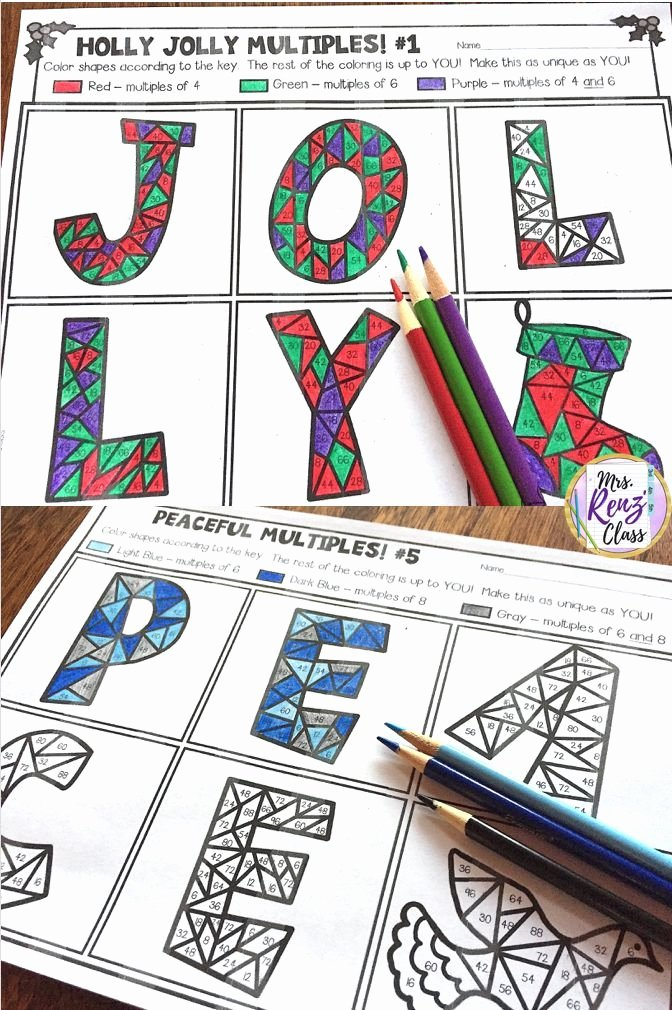 Coloring Worksheets for 3rd Grade Christmas Math Coloring Mon Multiples Practice that S