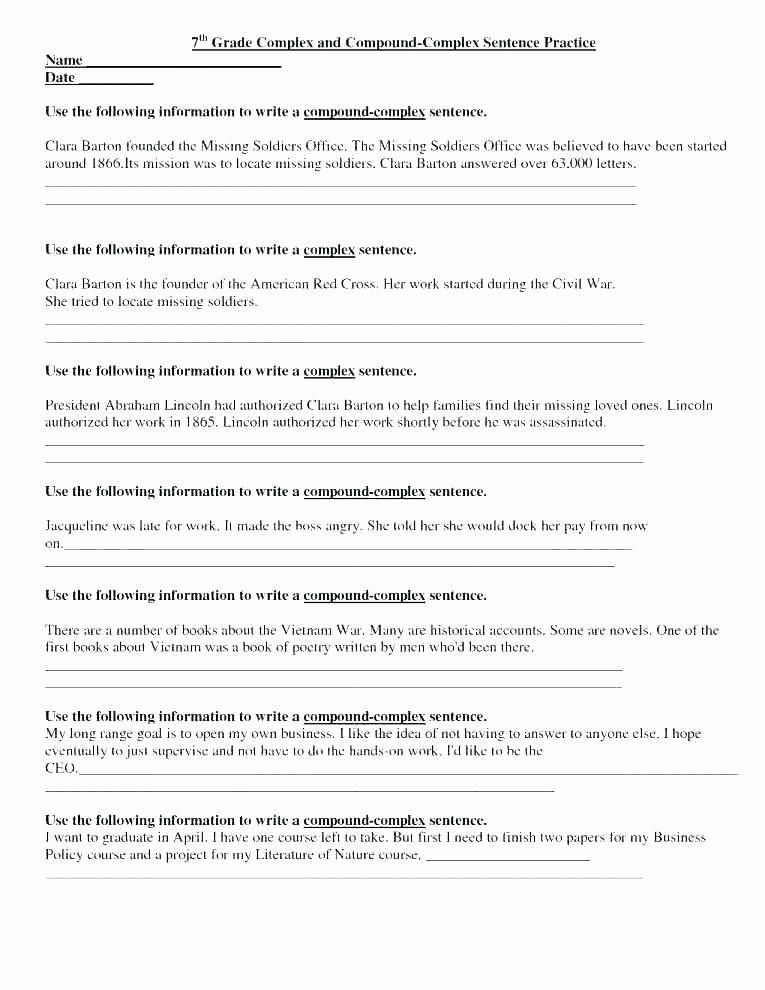 Combining Sentences Worksheet 3rd Grade Plex Sentence Practice Worksheets