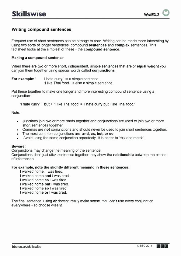Combining Sentences Worksheet 3rd Grade Sentence Writing Pound Sentences Worksheets Simple and