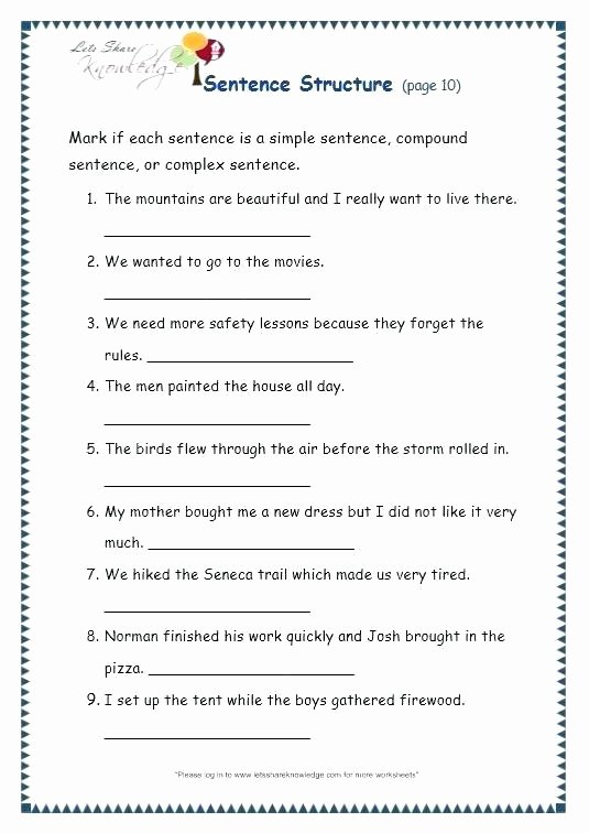 Combining Sentences Worksheet 3rd Grade Simple and Pound Sentences Worksheets Sentence Structure