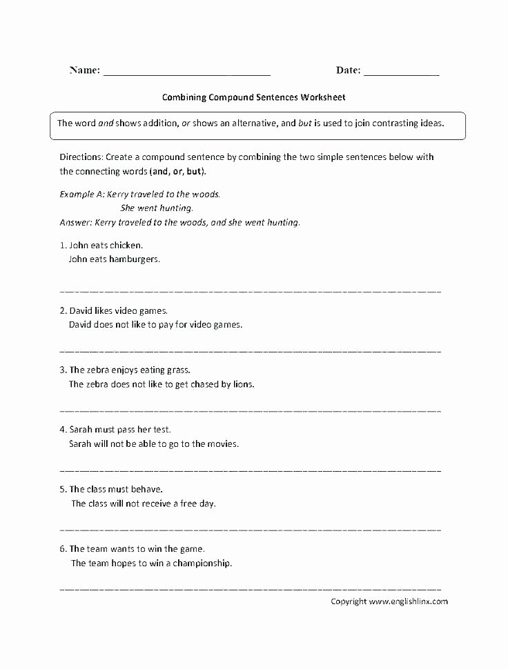 Combining Sentences Worksheet 3rd Grade Simple Pound Plex Sentences Quiz Sentence