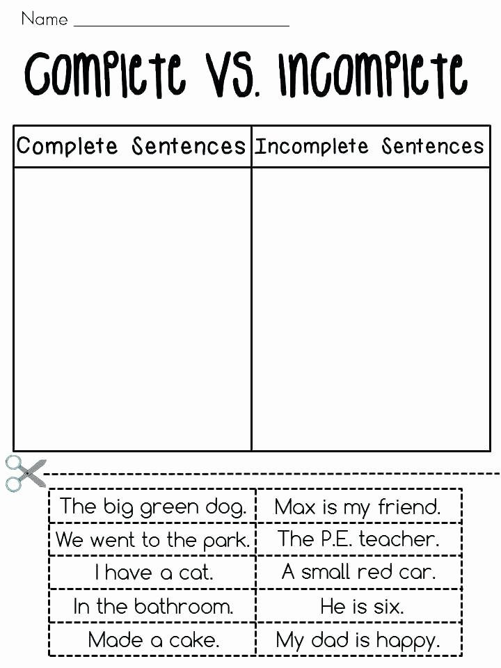 Combining Sentences Worksheet 5th Grade 3 Cut and Paste Plete Vs In Plete Sentences sort Fun